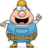 Handyman Idea. A happy cartoon handyman with an idea Stock Photo