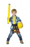 Handyman Kid with Repair Tools. Child Boy Professional Builder. Little Worker Isolated White Background stock images
