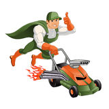 Handyman lawn mower,. Hero handyman Stock Photos
