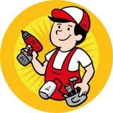 Handyman logo. Logo with cartoon constructor - handyman Royalty Free Stock Images