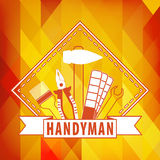Handyman logo on  polygonal background in orange. Set of repair tools. Stock . Flat design Royalty Free Stock Photos