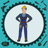 Handyman man. Illustration of a man who can perform various tasks using a variety of tools royalty free illustration