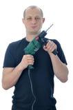 Handyman med drillborren royaltyfri bild