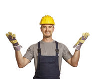 Handyman open arms Royalty Free Stock Photos