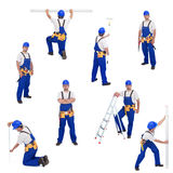 Handyman Or Worker In Different Working Positions Stock Photo
