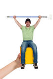 Handyman with paint roller Royalty Free Stock Images