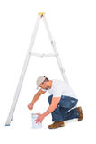 handyman with paint roller and ladder Royalty Free Stock Photos