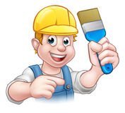 Handyman Painter Decorator With Paintbrush. A painter decorator handyman cartoon character holding a paintbrush and pointing Royalty Free Stock Photography