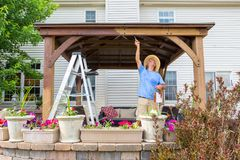 Handyman painting a newly installed wooden gazebo. On a patio in front of a house, stretching up to paint the underside of the beam viewed over flowers on the royalty free stock images