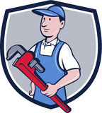 Handyman Pipe Wrench Crest Cartoon Stock Photos