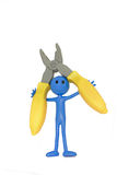 Handyman and Pliers. Royalty Free Stock Photo