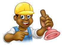 Handyman Plumber Holding Punger Cartoon Character Stock Images