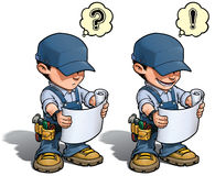 Handyman - Reading Plan Blue. Cartoon illustration of a handyman reading a blueprint. Weather he understands what to do next or not is up to YOU stock illustration