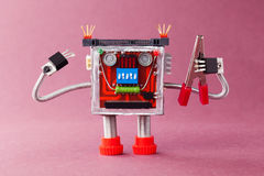 Handyman ready for work. Serviceman robot character with red pliers. Violet background Royalty Free Stock Photo