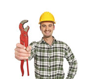 Handyman and red wrench Royalty Free Stock Photo