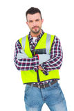 Handyman with reflecting clothes Royalty Free Stock Photo