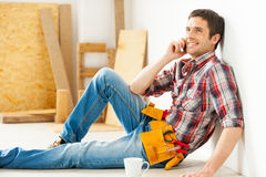 Handyman relaxing. Stock Image
