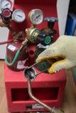 Handyman repairman HVAC tools Stock Image