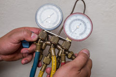 Handyman repairman HVAC tools Royalty Free Stock Photos