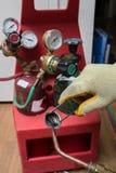 Handyman repairman HVAC tools Royalty Free Stock Photos