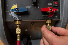 Handyman repairman HVAC tools Stock Photography