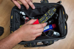 Handyman repairman HVAC tools Royalty Free Stock Photography