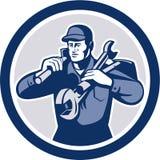 Handyman Repairman Spanner Wrench Spade Retro. Illustration of a repairman mechanic tradesman handyman worker carrying spanner wrench and spade viewed from front Stock Photo