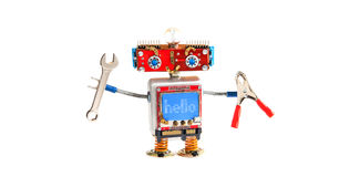 Handyman robot chat bot with hand wrench, pliers on white background. Smiley red head mechanical cyborg, blue monitor. Body. Message hello on blue monitor Royalty Free Stock Images
