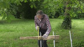 Handyman saw oak logs by hand. Man using an easel and a wood saw to cut logs stock video footage