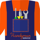 Handyman service logo.  Repair tools in the pocket of coverall.  Lettering Handyman service. Stock Photography