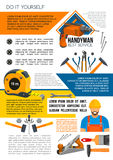 Handyman service poster of man with work tool Royalty Free Stock Photos