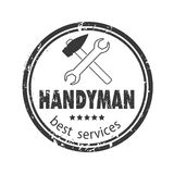 Handyman services  design for your logo or emblem with grey stamp on white background. Set of workers tools Royalty Free Stock Photo