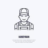Handyman services logo, repairman flat line icon.  Royalty Free Stock Photos