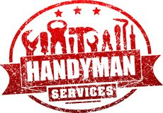 Handyman services red, vector grunge rubber stamp for your logo. Or emblem with banner and set of workers tools. There are wrench, screwdriver, hammer, pliers royalty free illustration