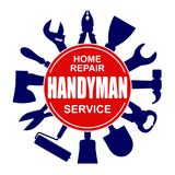 Handyman services round vector design for your logo or emblem wi. Th set of workers tools. There are wrench, screwdriver, hammer, pliers, soldering iron, scrap stock illustration
