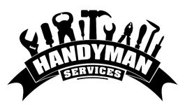 Handyman services vector design for your logo or emblem with ben Stock Image