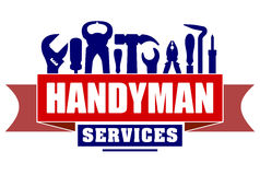 Handyman services vector design for your logo or emblem with red. Banner and set of workers tools. There are wrench, screwdriver, hammer, pliers, soldering iron Stock Photography