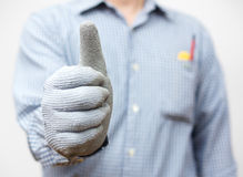 Handyman showing thumbs up sign Royalty Free Stock Photos