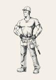 Handyman. Sketch illustration of a handyman or construction worker Stock Image