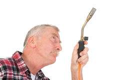Handyman solder Royalty Free Stock Images