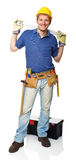 Handyman with spirit level Stock Photography