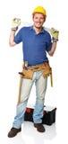 Handyman with spirit level Stock Photography