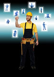 Handyman and  technology Stock Image