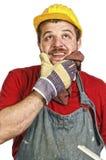Handyman thinking Royalty Free Stock Photo