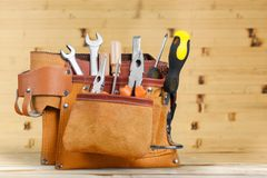 Handyman tool belt. Carpenter background box carpentry closeup construction royalty free stock photos