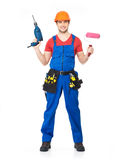 Handyman with tools full portrait isolated Stock Photo