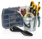 Handyman tool set: screwdrivers, wrenches, tape, pliers, measuri Stock Photo