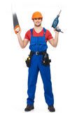 Handyman with tools full portrait isolated Stock Images