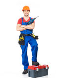 Handyman with tools full portrait isolated Royalty Free Stock Photos