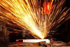 Handyman use grinder at work stock image